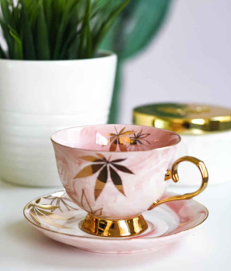 Golden Cannabis Leaf High Tea Cup & Saucer Set